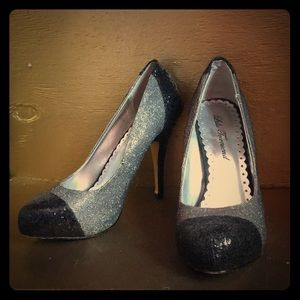 Lulu Townsend Silver and Black Sparkle Heels